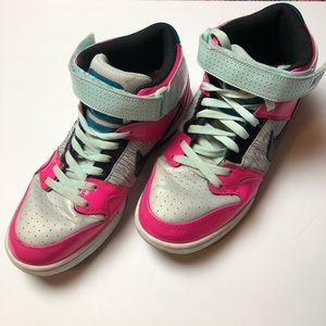 NIKE High Top Air Force 1 Pink & Mint Color Combo